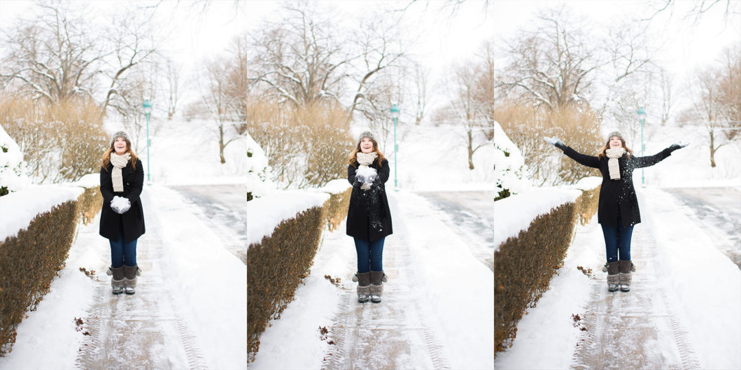 3 images in the collage of pregnant woman throwing snow up in the air